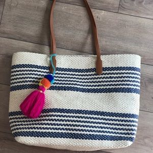 Bags - Straw tote with Pom poms